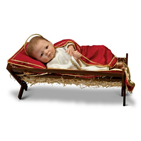 Baby Jesus Doll in Manager with Musical Pillow